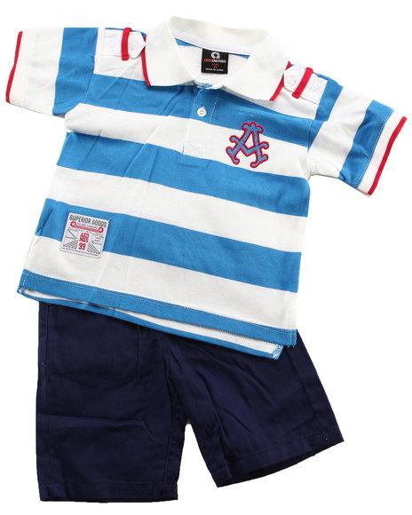 Akademiks Boys Blue,Dark Blue,White 2 Pc Set - Polo & Shorts (2T-4T)