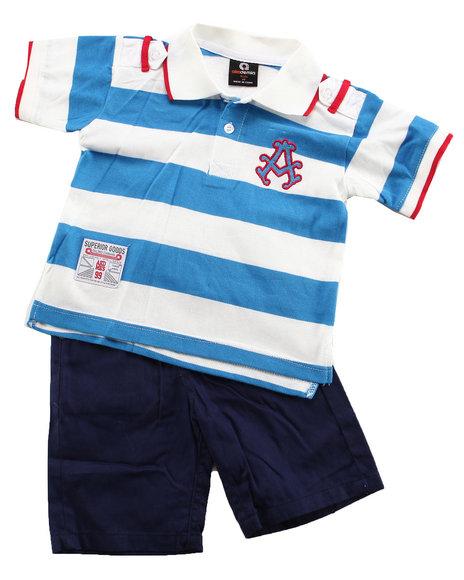Akademiks Boys Blue,Dark Blue,White 2 Pc Set - Polo & Shorts (Infant)