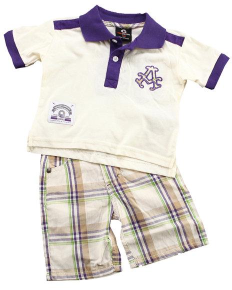 Akademiks - Boys Off White, Purple 2 Pc Set - Polo & Plaid Shorts (Newborn)