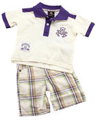 Akademiks - 2 PC SET - POLO & PLAID SHORTS (NEWBORN)