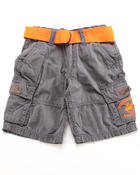 Arcade Styles - BELTED CARGO SHORTS W/ NEON ORANGE BELT (4-7)