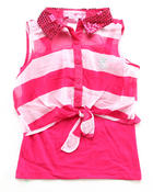 Girls - STRIPE CHIFFON TIE FRONT TOP (7-16)