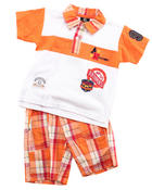 Sets - 2 PC SET - POLO & PLAID SHORTS (NEWBORN)