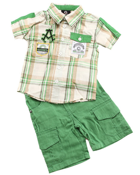 Akademiks Boys Green 2 Pc Set - Woven & Shorts (Newborn)