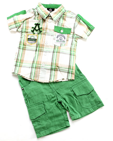 Akademiks - Boys Green 2 Pc Set - Woven & Shorts (Infant)