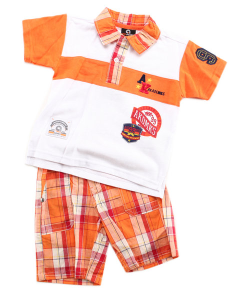 Akademiks - Boys Orange 2 Pc Set - Polo & Plaid Shorts (2T-4T)