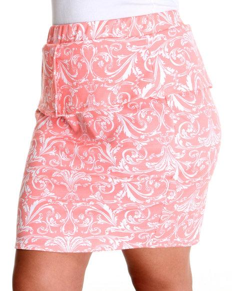 Fashion Lab - Women Pink,White Victorian Peplum Skirt (Plus)