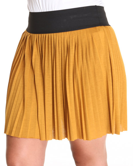 Fashion Lab - Women Yellow Mindy Mini Pleat Skirt (Plus) - $7.99