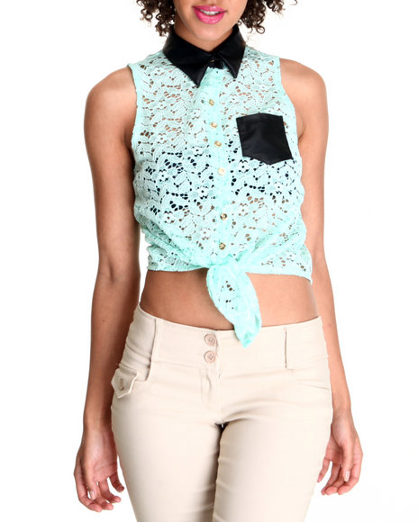 Fashion Lab - Women Green,Teal Crochet Sleeveless Top