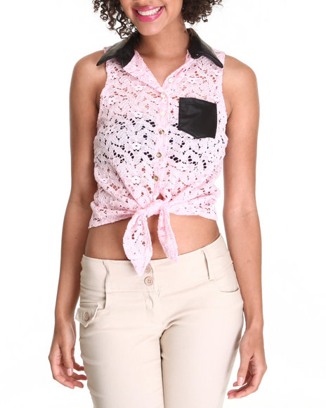 Fashion Lab - Women Light Pink Crochet Sleeveless Top