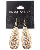 Women - Gold Plated Leaf Bling Teardrop Earrings