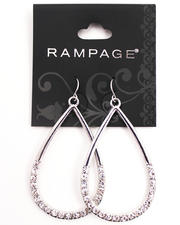 The Sale Shop- Women - Silver Plated Bling Teardrop Hoop Earrings