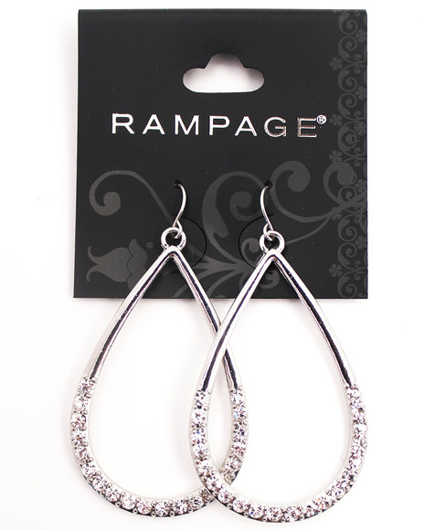 Rampage Women Silver Plated Bling Teardrop Hoop Earrings Silver - $5.99