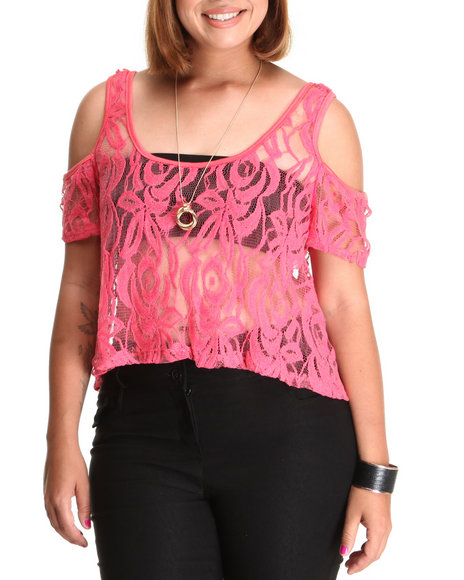 Fashion Lab - Women Coral Knit Floral Top (Plus)