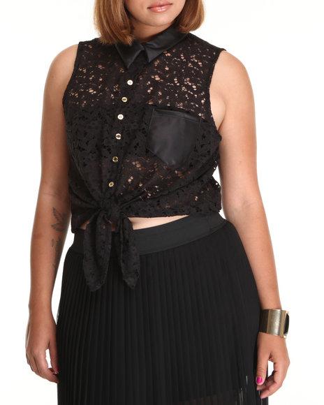 Fashion Lab Women Crochet Sleeveless Top Black 3X