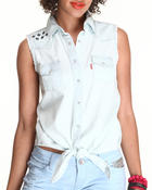 Women - Tie Front sleeveless Shirt w/embroidery stars