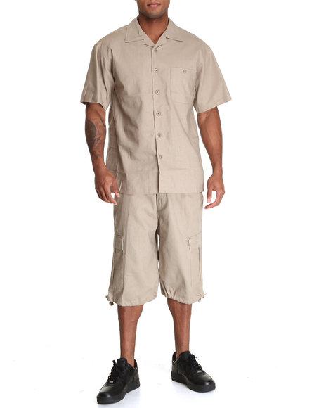 Basic Essentials Men Linen Short Sleeve Woven And Shorts Set Khaki Large