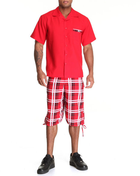 Basic Essentials Men Red Short Sleeve Woven And Plaid Short Set