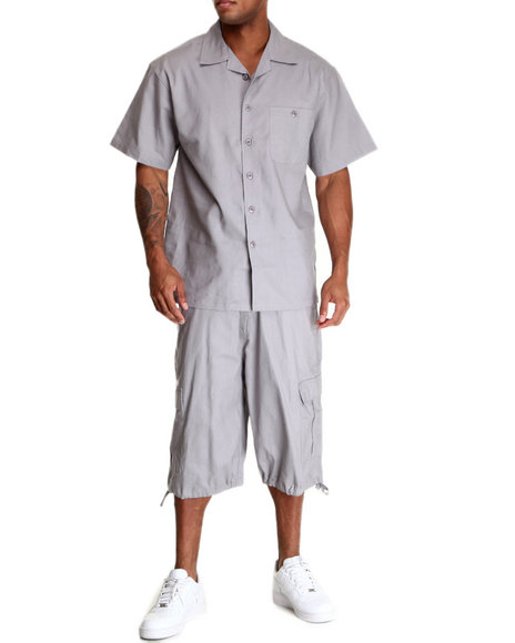 Basic Essentials Men Linen Short Sleeve Woven And Shorts Set Grey Large