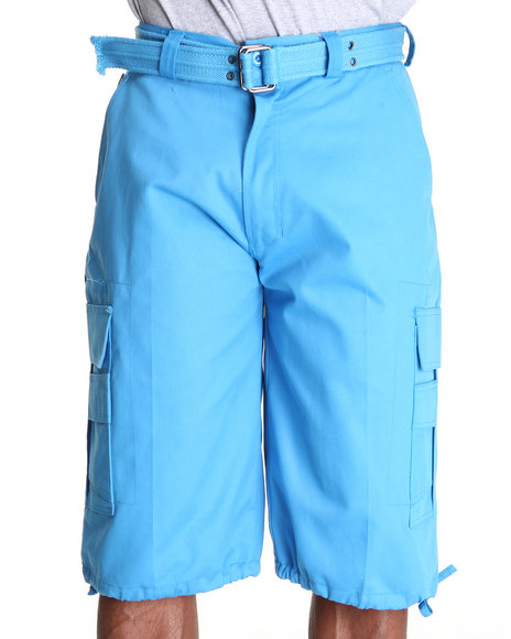 Basic Essentials Men Beyond The Limit Cargo Shorts With Belt Teal 38