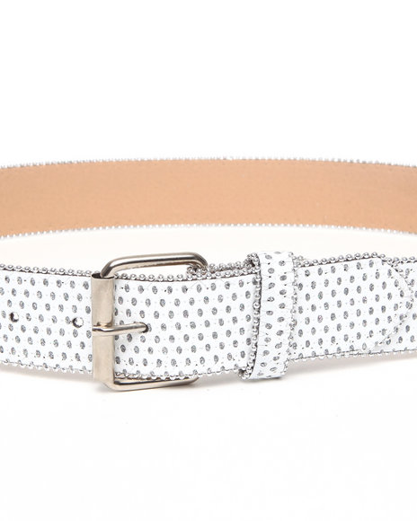 Xoxo Women White Sparkly Blinged Out Pant Belt