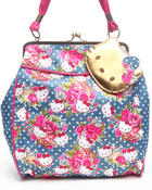 Women - Pretty Floral Kiss lock frame bag
