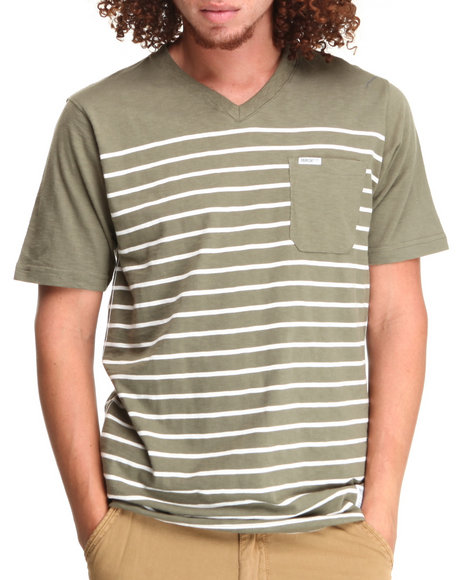 Parish Olive Stripe V-Neck Tee