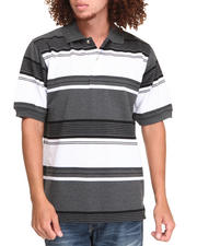 Men - Striped Pique Polo