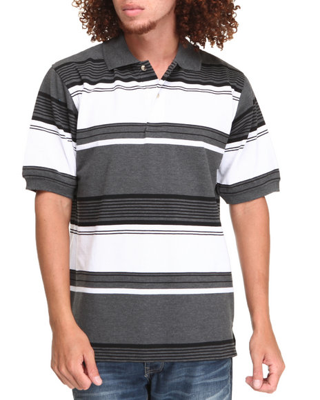 Basic Essentials - Men White,Charcoal Striped Pique Polo