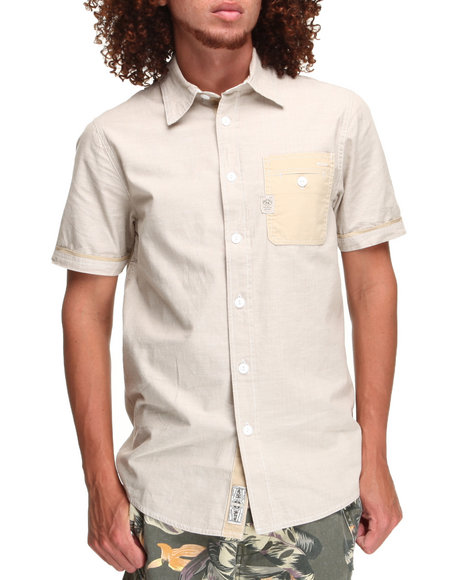 Parish Beige,Khaki Solid Chambray S/S Button-Down