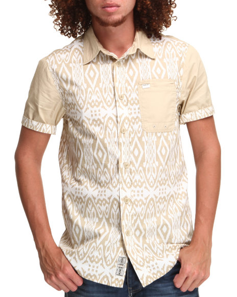 Parish Khaki Tribal Print S/S Button-Down