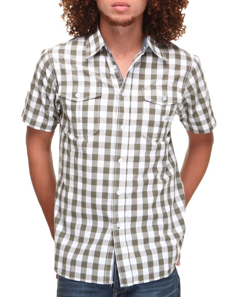 Parish - Men Olive Gingham S/S Button-Down