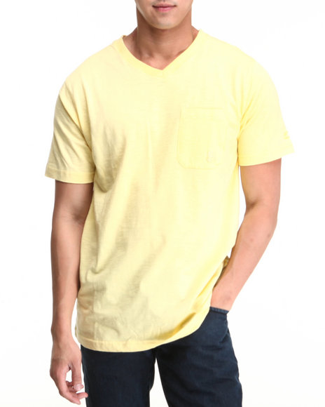 Parish - Men Yellow Solid V-Neck Tee