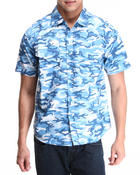 Button-downs - Camo Print Woven Short Sleeve Shirt
