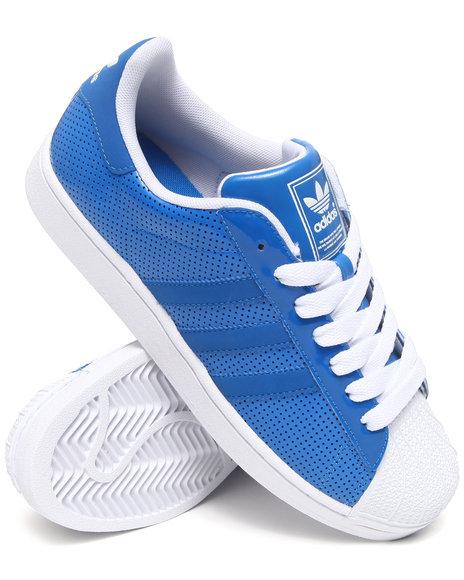 Adidas Men Blue,White Superstar 2 Patent Sneakers