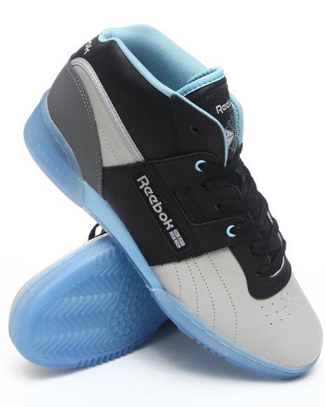 Reebok Men Grey Workout Mid Ice Bottom Sneakers