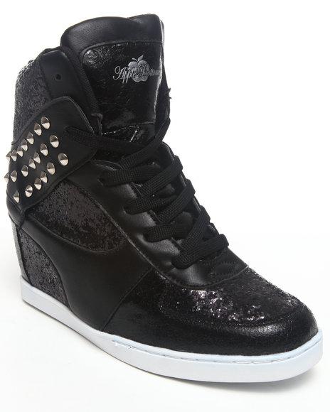 Apple Bottoms Women Black Kaden Sequin Spikes Wedge Sneaker
