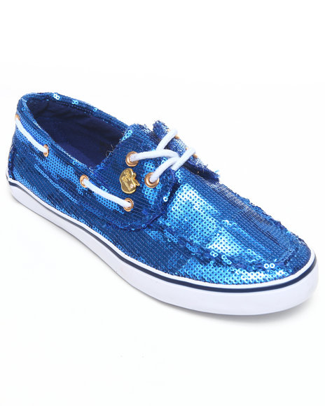 Apple Bottoms Women Blue Bonina Sequin Deck Shoe