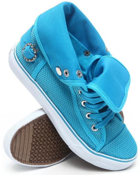 Apple Bottoms Women Blue Nona Foldover Perforated Sneaker