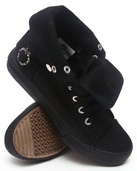 Apple Bottoms Women Black Nona Foldover Perforated Sneaker