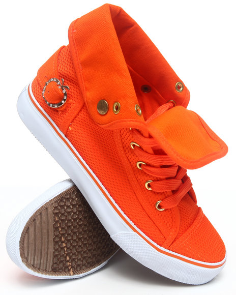 Apple Bottoms Women Orange Nona Foldover Perforated Sneaker