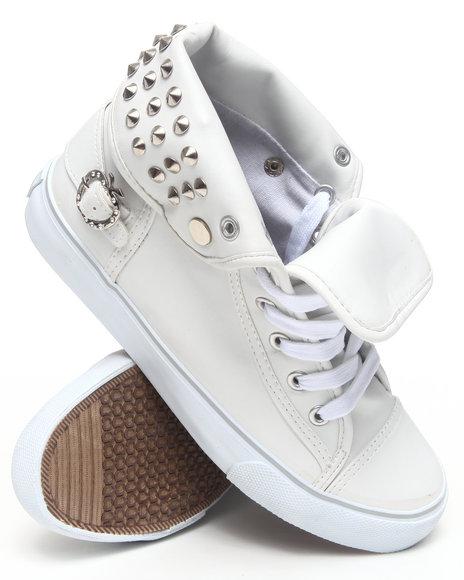 Apple Bottoms Women White Benson Vegan Leather Studded Sneaker