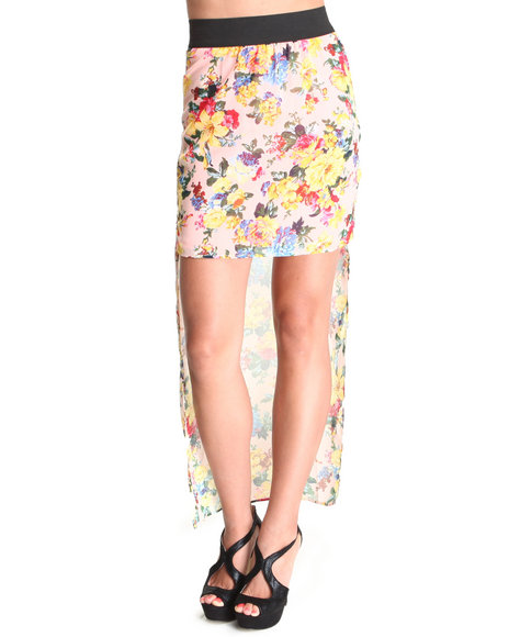 Fashion Lab - Women Pink The Marla Chiffon Floral Hi-Lo Skirt