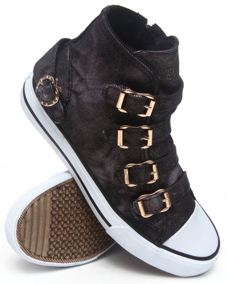 Apple Bottoms - Women Black March Denim Gold Dust  Canvas Sneaker