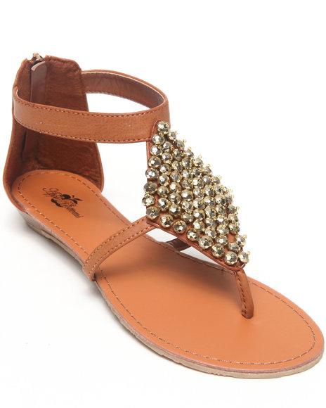 Apple Bottoms Women Tan Sinnia Studded Trim Thong Sandal