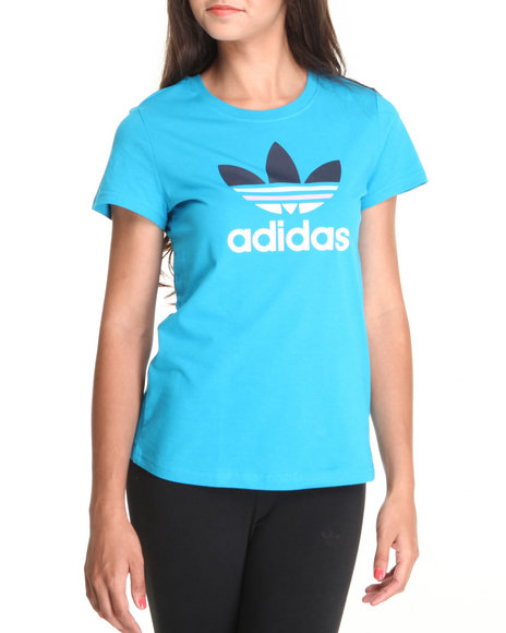 Adidas Women Teal Trefoil Tee