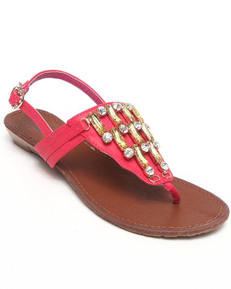 Apple Bottoms Women Dark Pink,Orange Senna Jeweled Wedge Sandal