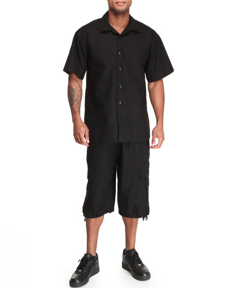Basic Essentials Men Linen Short Sleeve Woven And Shorts Set Black Large