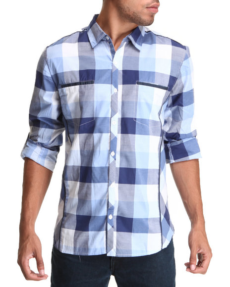 Basic Essentials Men Box Plaid Woven Shirt Blue Large