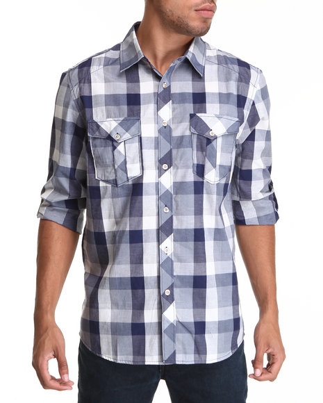 Basic Essentials Men Plaid Woven Shirt Blue Large